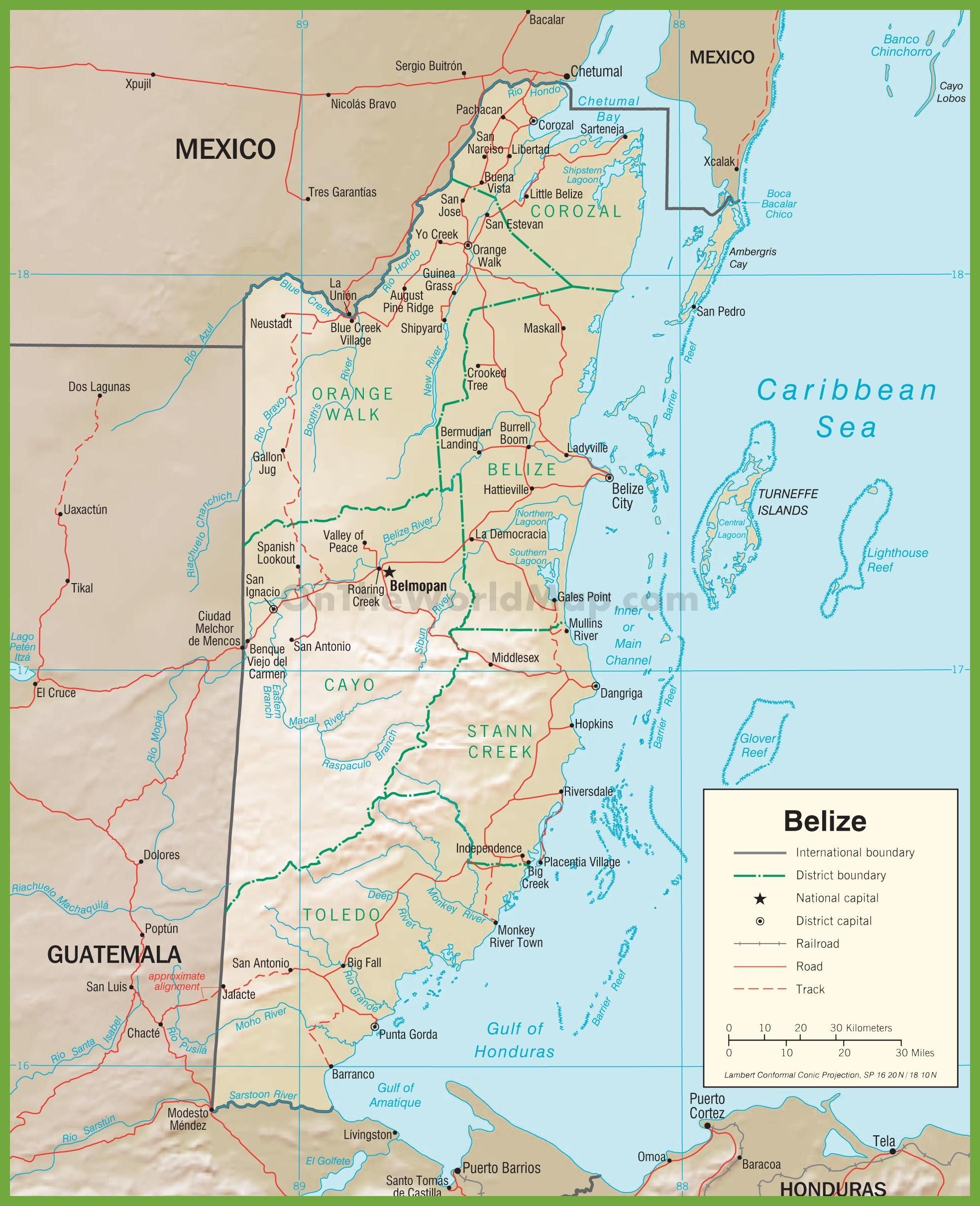 Belize road map - highway Belize Karte (Central America - Americas)