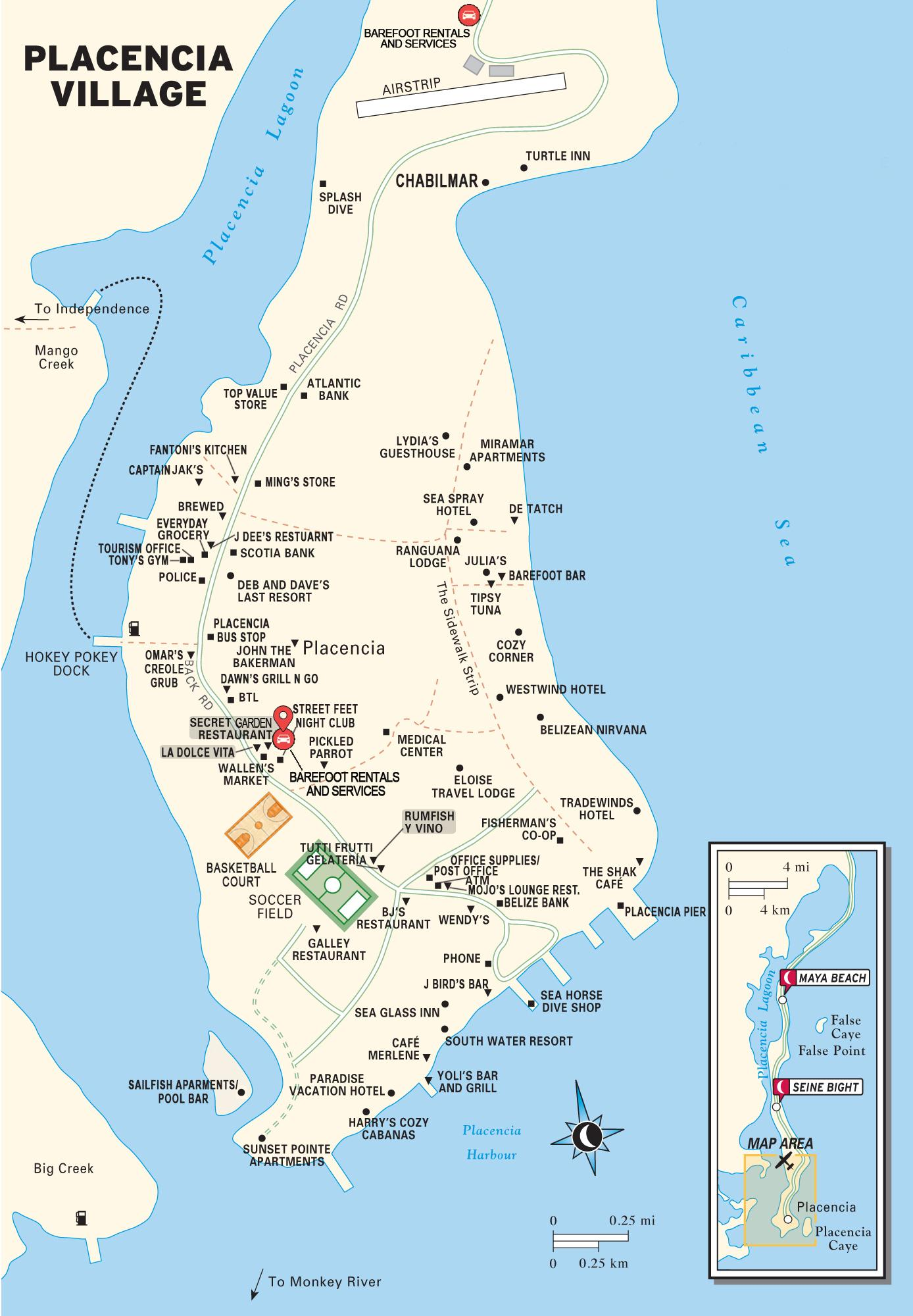 Belize Karte.Placencia Belize Map Karte Von Placencia Village Belize