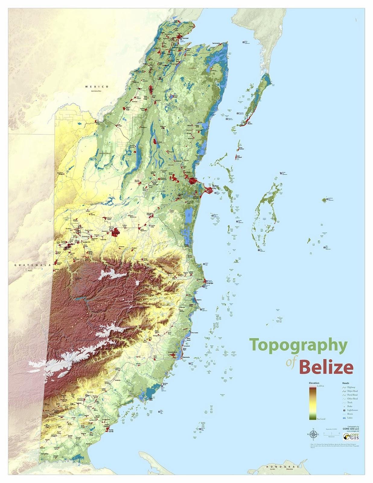 Topographische Karte Von Belize Topographische Karte Von Belize
