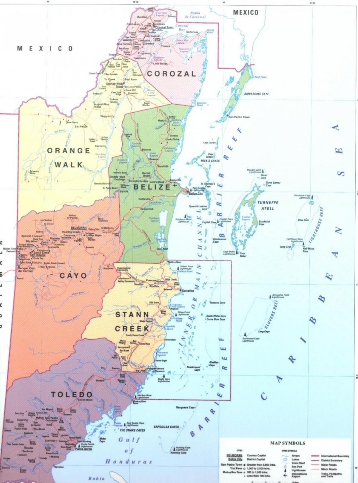 Belize Landkarte Karte Von Belize Mittelamerika Sudamerika