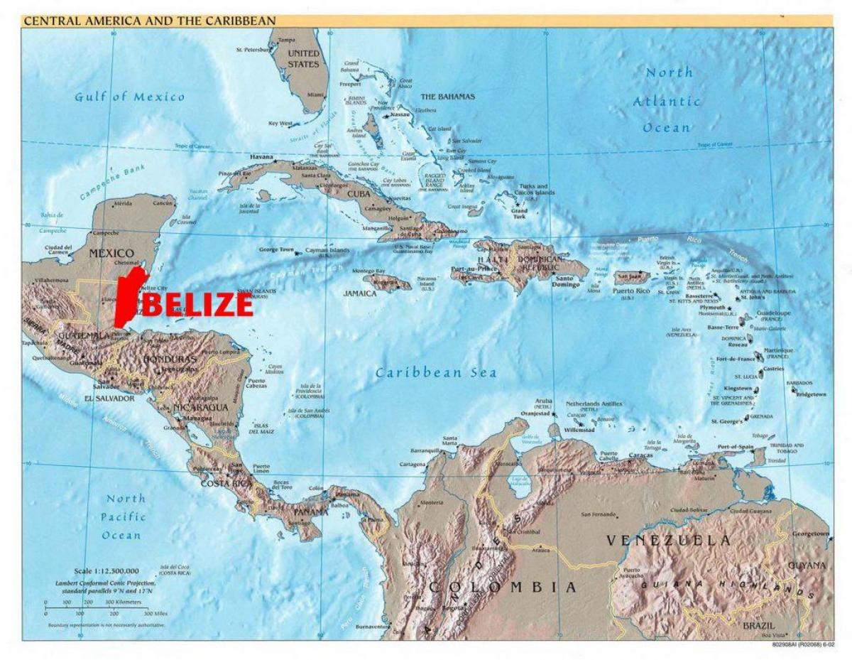 Karte von Belize central america